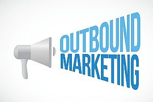 an illustration of a megaphone that is reading the words outbound marketing to prove that it is an effective strategy used by any good digital marketing agency