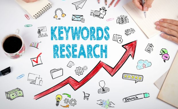 a diagram showing what keyword research entails as well as how it can help law firms
