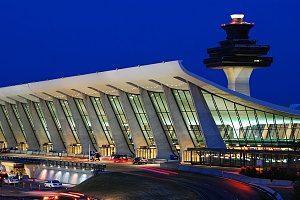 a night shot of Dulles Airport which is located in the heart of Northern Virginia where SEO is beneficial to businesses