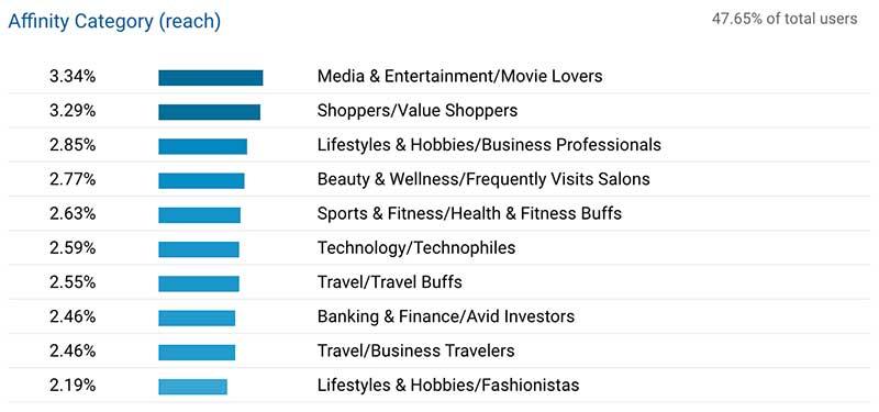 Google Analytics data segmenting website users interests