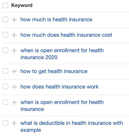 list of health insurance related keywords