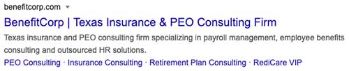 Well optimized SEO title and meta description for an insurance agency