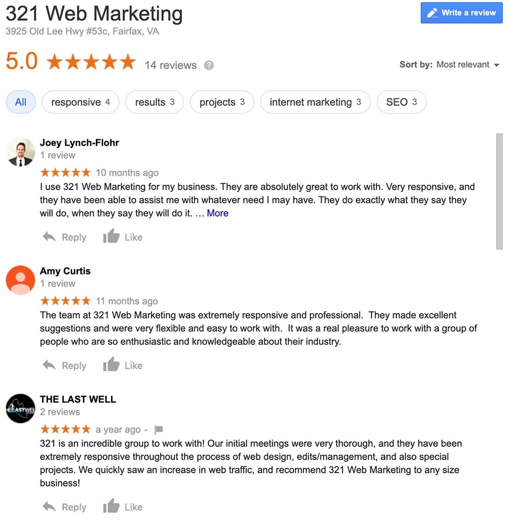 321 Web Marketing Google reviews