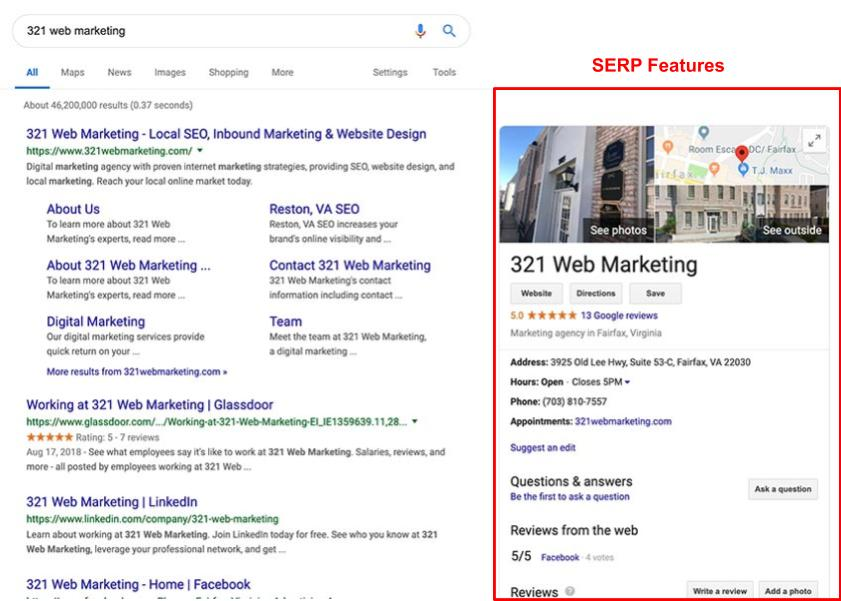 321 Web Marketing 2019 Google SERP features