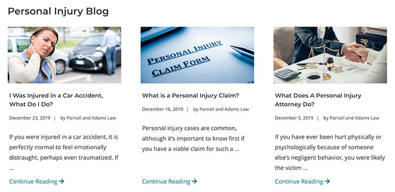 an example of a law firm blog from a 321 Web Marketing client