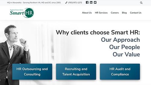 Centreville, VA Web Design Example - Smart HR Inc.