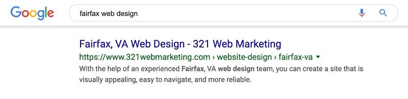 Google search results for Fairfax, VA Web Design
