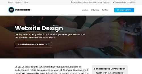 321 Web Marketing's custom service page layout