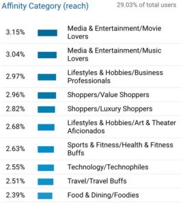 affinity category of 321 web marketing users shown in google analytics