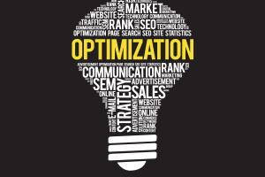 OPTIMIZATION bulb word cloud collage