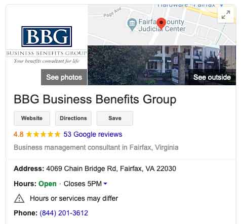 Google My Business information for BBG
