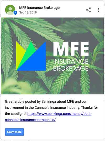 Google My Business post by MFE Insurance