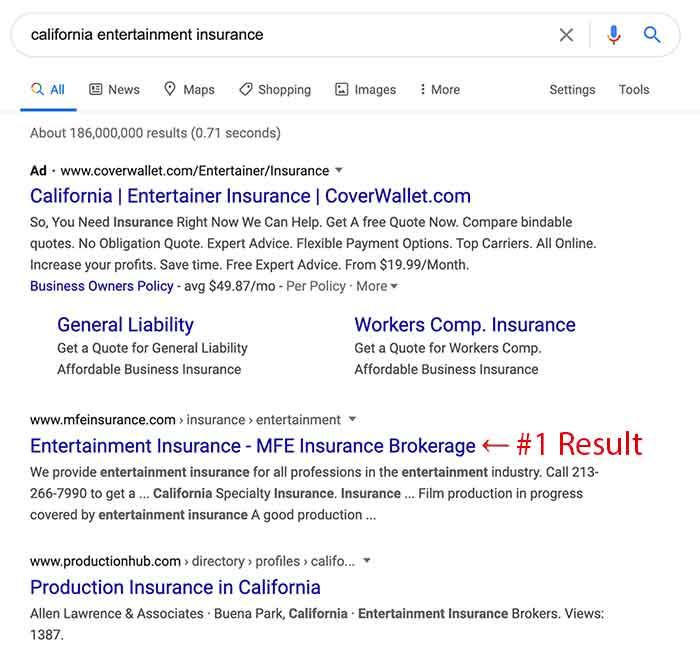 SERPs for California entertainment insurance showing the importance of Google My Business