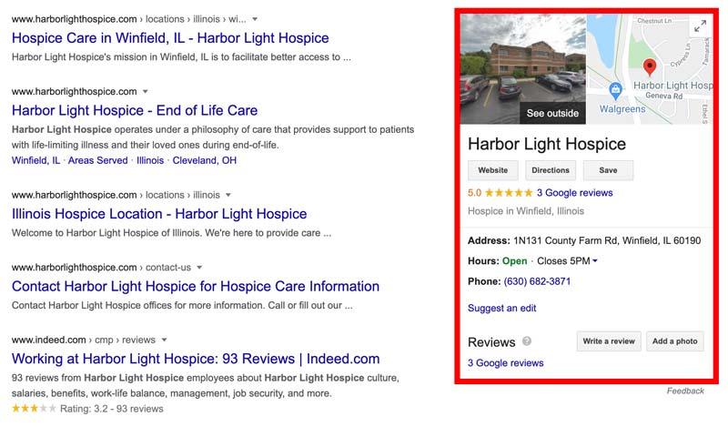 Google My Business info for Harbor Light Hospice