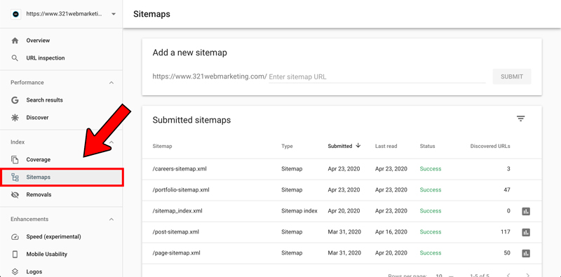Google Search Console sitemap example