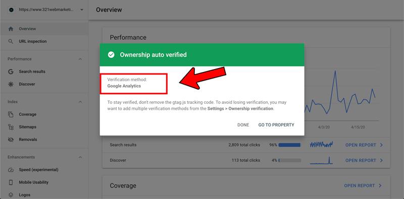 Google Search Console verification - step 4