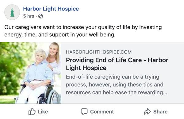 Harbor Light Hospice Facebook post (#1)