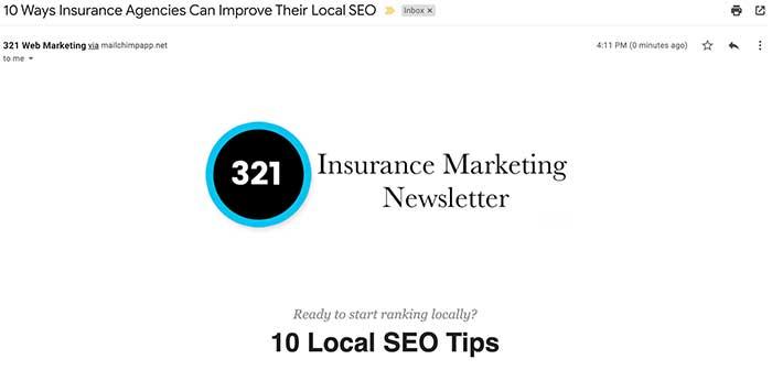 321 Web Marketing Insurance Marketing Newsletter