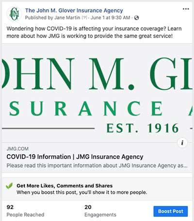 Facebook post showing the benefits of Facebook marketing for insurance agents