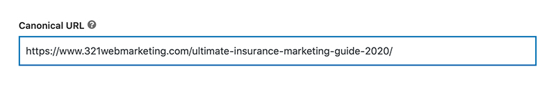 an example of canonicalization for an insurance marketing guide by 321 Web Marketing