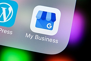 Google My Business iPhone app that can help insurance agencies improve their SEO