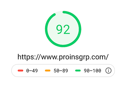 Google PageSpeed Insights speed data for Pro Insurance Group