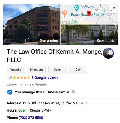 Kermit A. Monge Google My Business listing