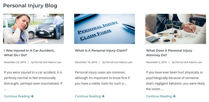 law firm marketing content strategy for Parnall & Adams Law