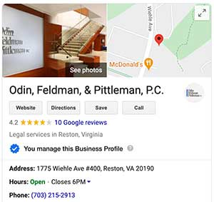 OFP Law Google My Business profile
