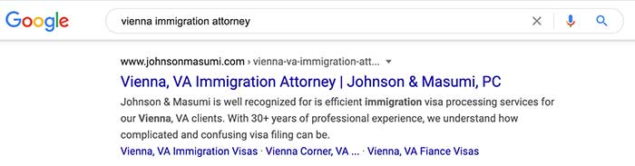 Local SEO search results for Vienna immigration attorney
