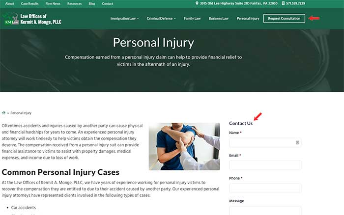 Law firm marketing ideas for personal injury attorneys include ctas