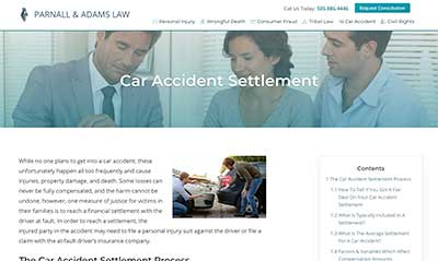 Parnall & Adams Car Accident Settlement Service Page