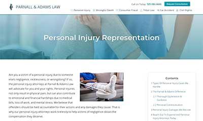 Parnall & Adams Personal Injury Service Page