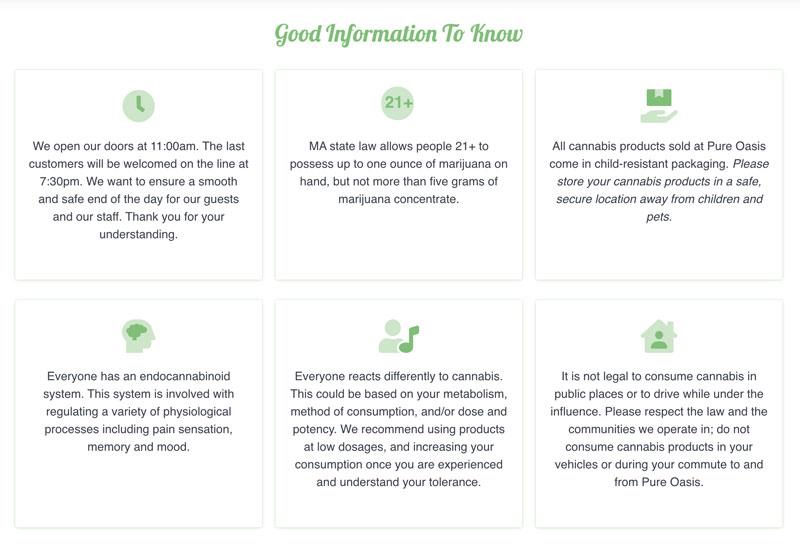 FAQs found on a cannabis dispensary website