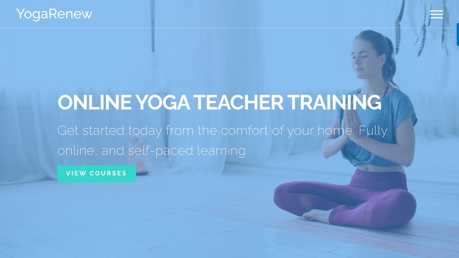 yogarenew home page screenshot